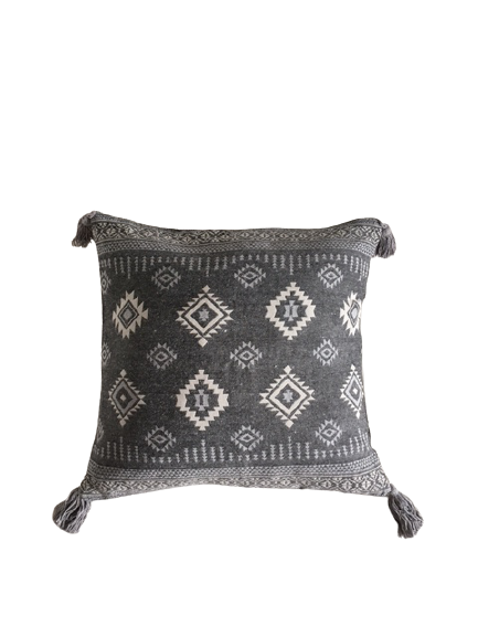 Boho etnik jastuk dekor i meditacija sivo beli sa kićankama