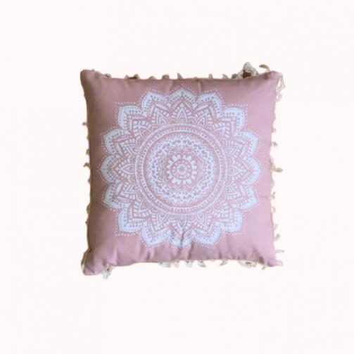 Joga jastuk za meditaciju bela mandala na roze osnovi